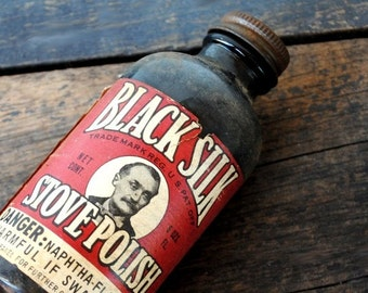 Old Black Glass Bottle, Industrial Decor Advertising Label, Stove Polish 1940s Passaic NJ