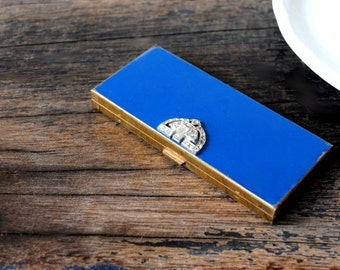 Volupte Powder Compact, Art Deco Cobalt Blue Enamel Rhinestone Clasp Vintage Make Up Gold Mirror Case