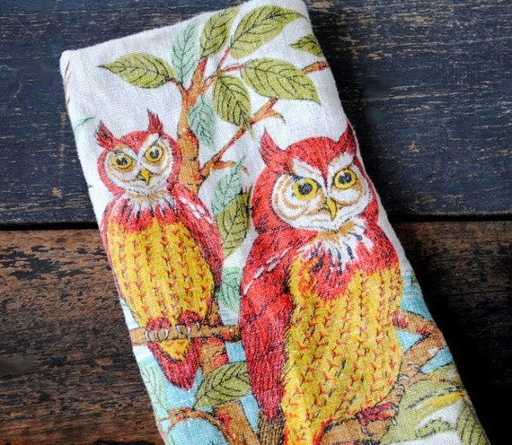 Vintage Owl Kitchen Decor: Vintage Owl Linen Tea Towel Gorgeous Red By Vintageeclecticity