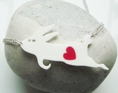 Stanley the Rabbit acrylic necklace with a removable heart