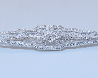 Art Deco Antique Filigree 14K White Gold Diamond Brooch Heirloom Pin Circa 1920s
