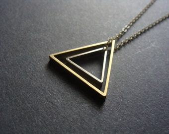 Silver Brass Triangle Necklace on Brass Chain - Minimalist Triangle Necklace