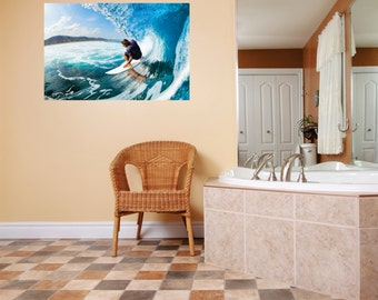 Beautiful Water Scene Man Surfing On A Surf Board In The Ocean Picture Art Mural Peel & Stick Sticker Vinyl Wall Decal 20x30 Color 575