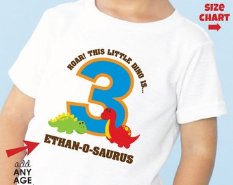 Roar Dinosaur Birthday Shirt -- Personalized with child's age and name