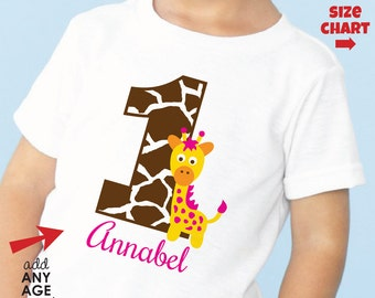 Giraffe 1st Birthday Shirt or Bodysuit (Girls) - Made for ANY AGE - Personalized First Birthday Outfit - Monogram Zoo Birthday Shirt