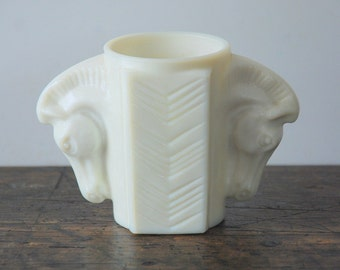 Vintage Macbeth Evans Uranium Milk Glass Horse Heads Cigarette Holder/Shaving Mug