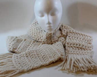 Extra long crochet scarf with tassels: cream color for women or men