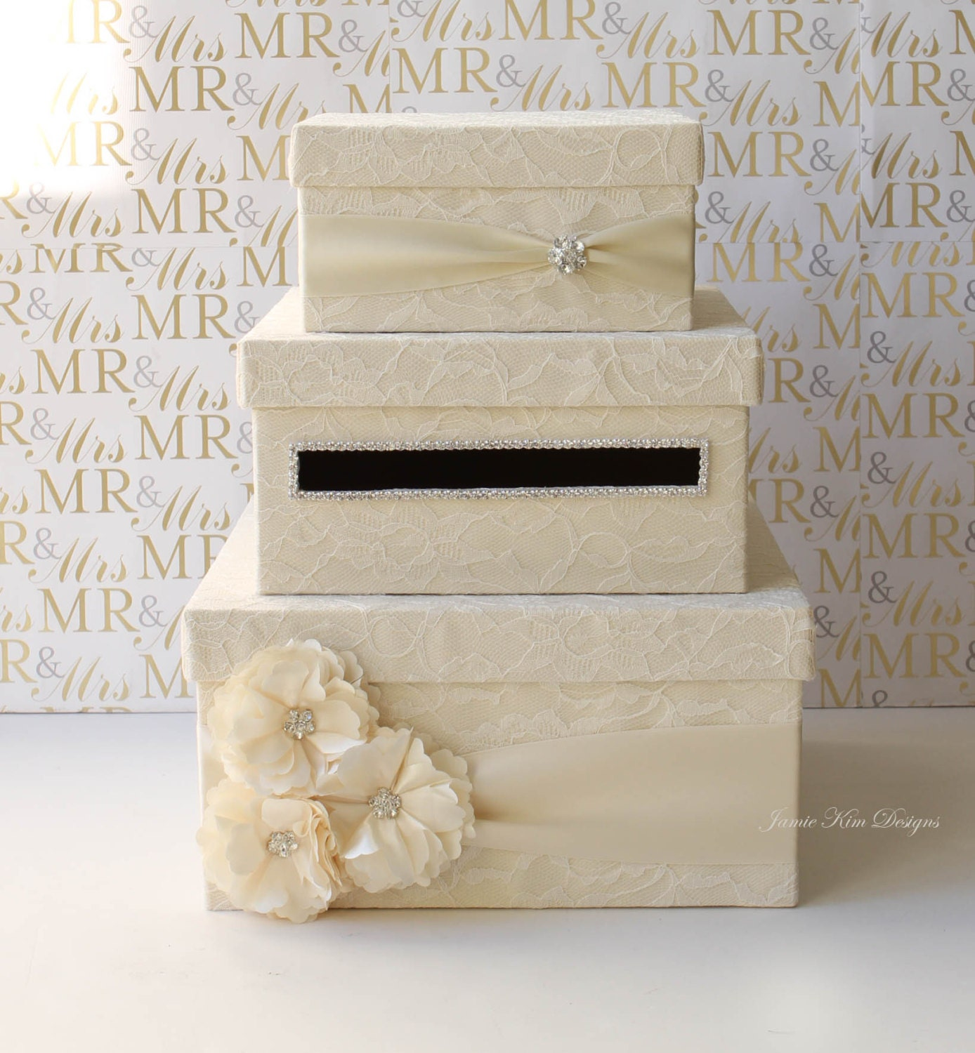 Wedding Shower Gift Card Holders : Lace Wedding Card Box Money Box Card Holder Custom Made