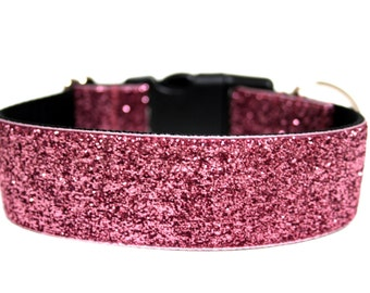 """Sparkle Dog Collar 1.5"""" Pink Glitter Dog Collar"""