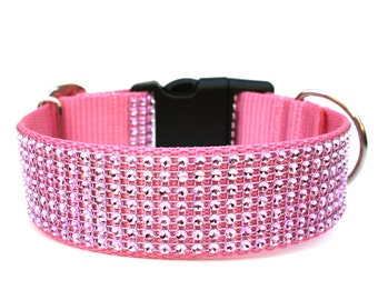 "Rhinestone Dog Collar 1.5"" Pink Dog Collar"