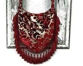 Victorian Bohemian Bag Purse Vintage Cut Chenille Hobo Slouchy Crossbody