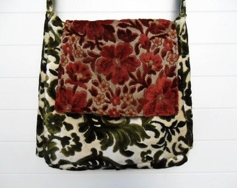 Victorian Bag Purse Vintage Cut Velvet Antique Brocade Messenger