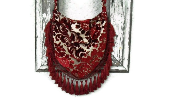 Victorian Bohemian Bag Purse Vintage Cut Chenille Hobo Slouchy Crossbody