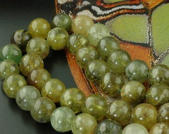 Go Green: Grossular Garnet 12mm Round Beads / Organic, Natural Jewelry Making, Craft Supplies / Mossy Green