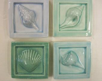 Ceramic SeaShell Tiles -- Set of 4 in Sea Blues & Greens -- 2 x 2 Handmade Accent tiles -- Beach, Ocean, Seashore, IN STOCK