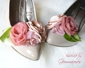 Floral Bouquet Bridal Wedding Shoe Clips in dust pink