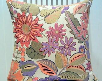 Orange Purple Floral Pillow Cover-- Decorative Floral Throw Pillow --18x18 or 20x20 or 22x22 --Orange, Purple, Green, Cream