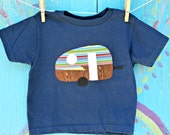 Appliqued Camper T-shirt, Navy with Primary Color/Wood Grain Trailer, Boy's Size 3T READY-TO-SHIP, Other Sizes Available Upon Request - JaneandJoshua