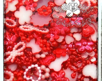 120 PCS X Mix Assorted Red Small Tiny Pearlized items Heart Mini Flower Rings Bow Ribbon Cabochon Resin Flat back Nail Art Craft (GM.ZRM12)