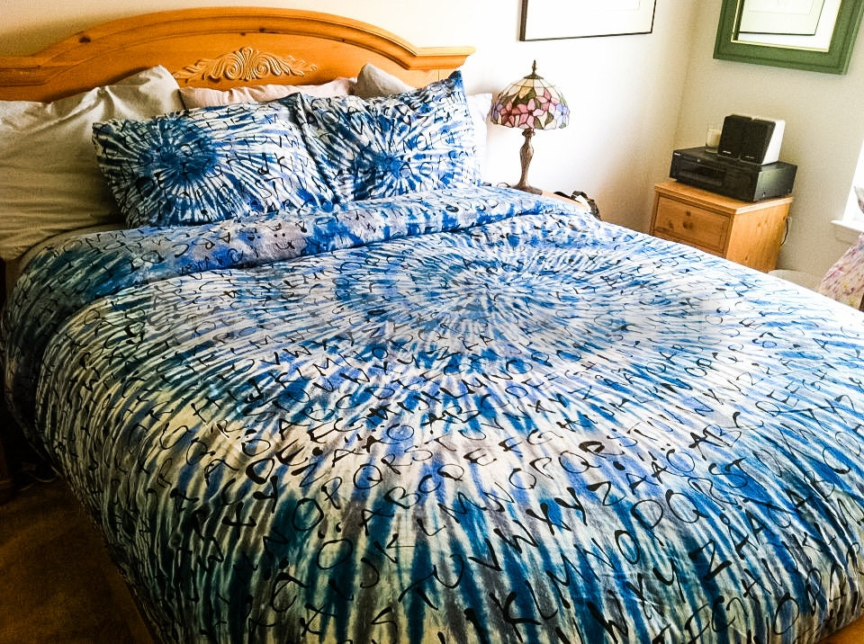 Tie Dye Duvet Cover Blue And Grey For Lovers Of Literature