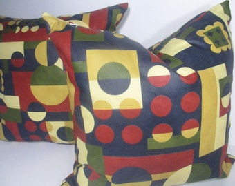 2 Pillow covers -Decorative Pillow cover- Pillow Cover Red - Blue Pillow -Yellow Pillow- Green Pillow- Multicolor Pillow Cover