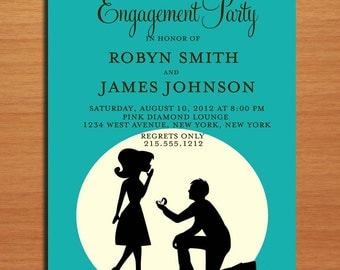 Proposal Silhouette Blue Engagement Party Customized Printable Invitations /  DIY