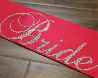 Bride to Be sash - Future Mrs...Bride Bachelorette party sash bridal shower sash - customized - all silver glitter