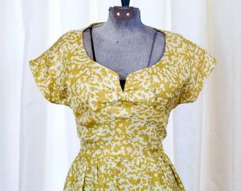 1950s Dress // Mollie Parnis Designer Gold Silk Wiggle Dress