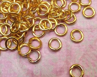 100 Pieces 4mm Gold Plated Brass Open Jump Rings 21 Gauge, Jewelry Findings - 1062- KarPenaEnterprises