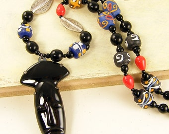 Black Tribal Necklace, Tribal Mask Necklace, Global Chic Necklace, Black African Bead Necklace Colorful Ethnic Necklace |UP