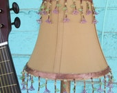 Signed Guitar Table Lamp 110v  W/ Gold Beaded Beige Shade For That Music Lover  No. 1013