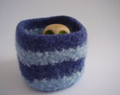 wee felted wool bowl square navy and sky blue container treasure dish ring holder