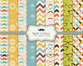 Mustache and Spectacles Digital Paper Set - Commercial and Personal Use
