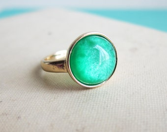 Green Ring Gold Plated Modern Jewelry The Great Gatsby Emerald Dark Grass Green Ring Faux Gem Stone Ring Gift Forest Pine Green