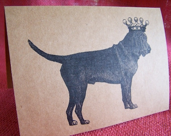 Bloodhound Dog With Crown Set of ANY 3 Greeting Note Cards Invitations Kraft Cardstock with matching envelopes 5 x 7""