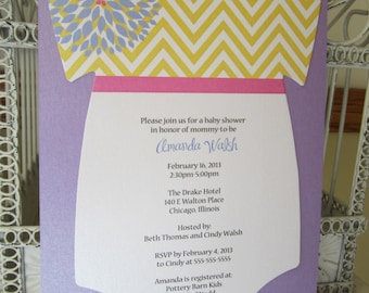 Floral and Chevron Baby Shower Invitation - Custom Die Cut