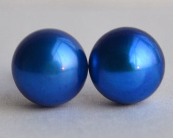 pearl earrings - 7.5-8mm blue pearl earrings,freshwater pearl stud,925 silver earring,wedding earrings,real blue pearl bead ear rings