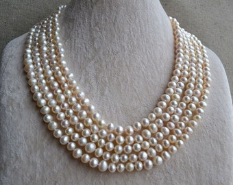 Long Pearl Necklace,100 Inches 6-7mm Freshwater Pearl Necklace,Ivory Necklace, pearl long necklace, bridal necklace, wedding necklace