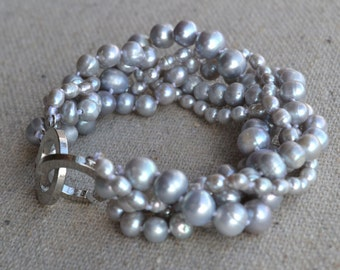 pearl bracelet,Gray pearl bracelet,5 rows 8 inches 3-8mm gray freshwater pearl bracelet,wedding jewelry.pearl party, prom necklace