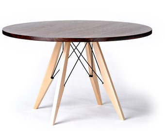 "48"" Round Dining Table in Walnut, Maple & Steel"