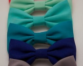 PREPPY BOW: Grey, Cobalt, Turquoise, Ocean, Sea Green or Coral Bow Barrette/Hair Clip/Headband or Bow Tie