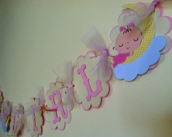 Its a Girl Banner, Over the Moon Banner, Baby on the Moon Banner, Baby Shower Decoration, Baby on Cloud, CUSTOM ORDER