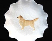 Pretty hand made styled Edge CERAMIC clay GOLDEN Retriever DOG white plate dish