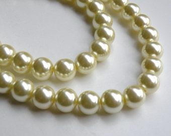 Light yellow glass pearl beads round 12mm full strand 7806GB