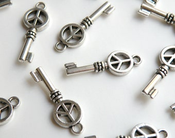 10 Groovy Peace Sign skeleton key small charms antique silver 26x9mm DB23470