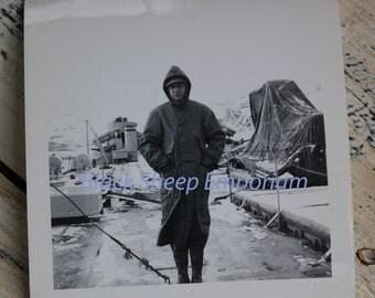 Vintage Photo Man on Boat, Winter, Photography, Paper Ephemera, Antique, Snapshot, Old Photo, Black and White