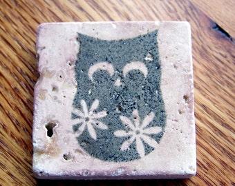 magnet, natural stone, tumbled tile  - owl