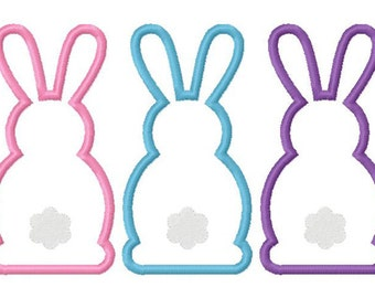 Easter bunny trio embroidery applique design digital instant download