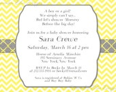 Grey and Yellow Chevron Modern Neutral Baby Shower Invitation -- Digital File, You Print OR I Print