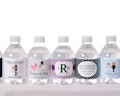Waterproof Water Bottle Labels - 100 Printed labels with your wedding colors